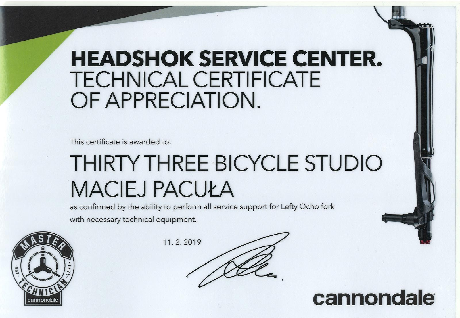 Certyfikat Cannondale HEADSHOK SERVICE CENTER 2019
